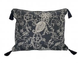 Paisley Navy Tassel Cushion Cover 40x55cm