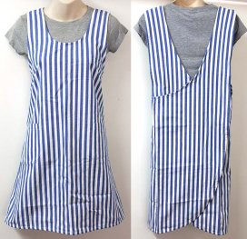 Blue Stripe Cross Back Apron